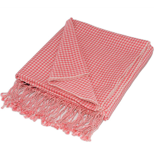 Gingham Stole- 70% Cashmere/30% Silk - 70x200cm - Rapture Rose