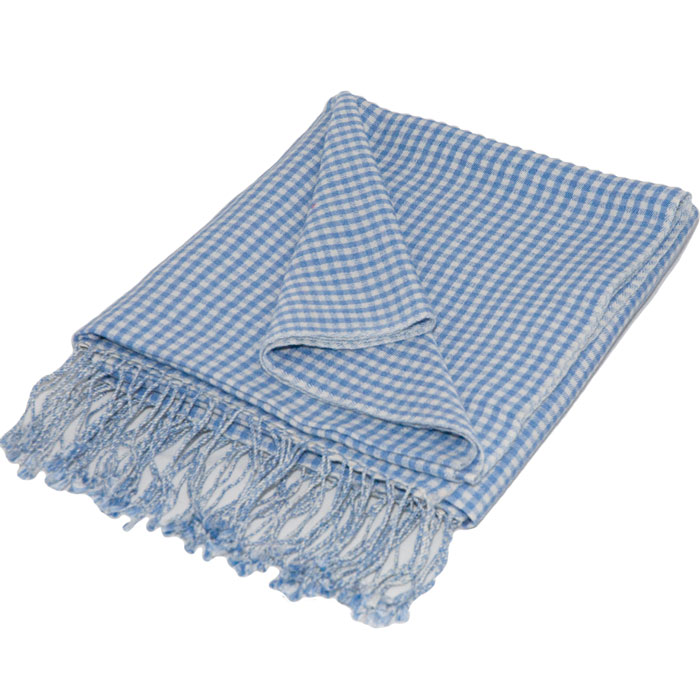 Gingham Stole- 70% Cashmere/30% Silk - 70x200cm - Provence