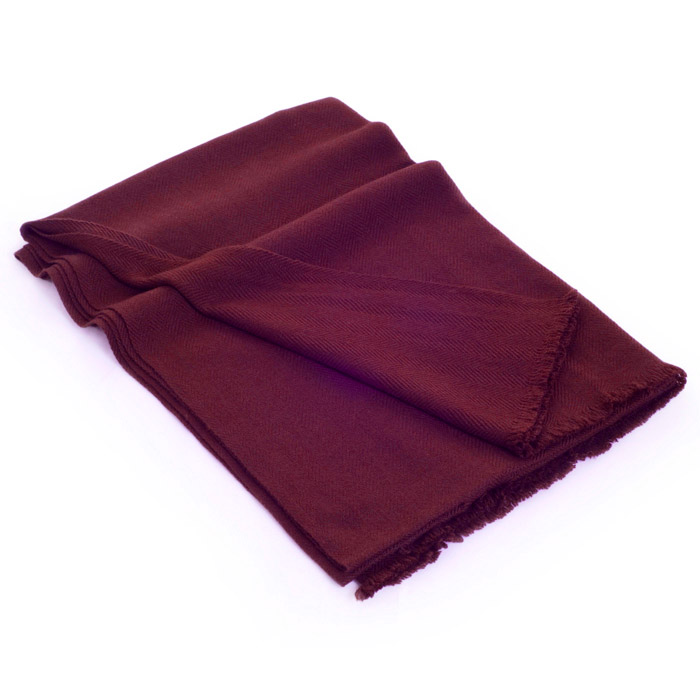 Herringbone Weave Pashmina - 100% Cashmere - 60x190cm - Open Fringe - Burgundy