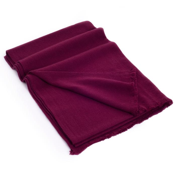 Herringbone Weave Pashmina - 100% Cashmere - 60x190cm - Open Fringe - Rhododendron
