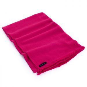 Herringbone Weave Pashmina - 100% Cashmere - 60x190cm - Open Fringe - Bright Rose