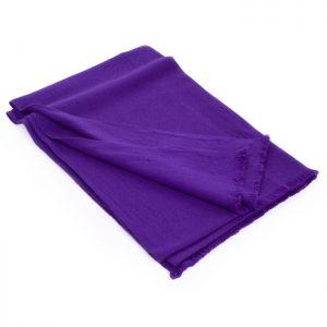 Herringbone Weave Pashmina - 100% Cashmere - 60x190cm - Open Fringe - Royal Purple