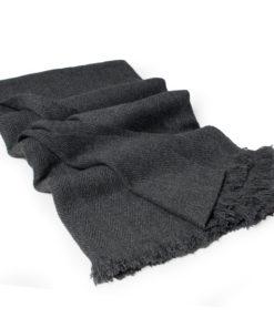 Herringbone Weave Pashmina - 100% Cashmere - 60x190cm - Open Fringe - Melange Dark Grey