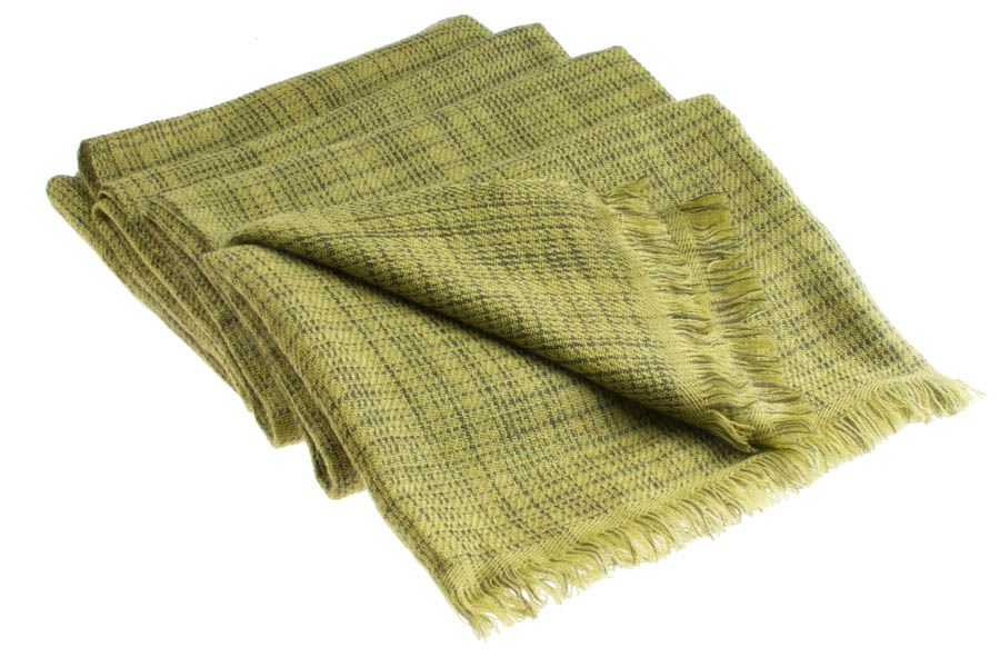 Double Ikat Stole - 66x203cm - 100% Cashmere - No Tassels - Woodbine mp86  Grape Leaf mp84