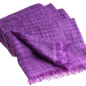 Double Ikat Stole - 66x203cm - 100% Cashmere - No Tassels - Amethyst mp48  Blackberry Cordial mp53