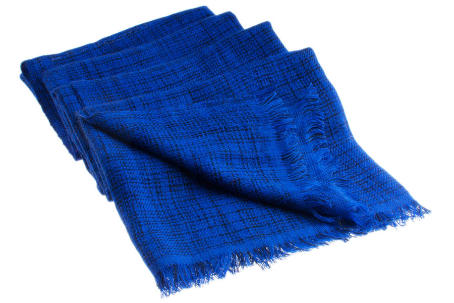 Double Ikat Stole - 66x203cm - 100% Cashmere - No Tassels - Dark Navy mp120  Clematis Blue mp108
