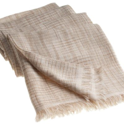 Double Ikat Stole - 66x203cm - 100% Cashmere - No Tassels - Dune mp118  Sandshell mp76