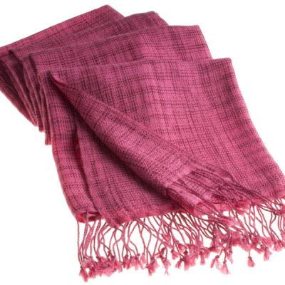 Double Ikat Stole - 66x203cm - 100% Cashmere - Tassels - Rhododendron mp27  Carmine mp32