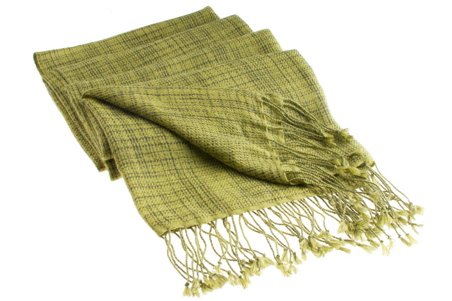 Double Ikat Stole - 66x203cm - 100% Cashmere - Tassels - Woodbine mp86  Grape Leaf mp84