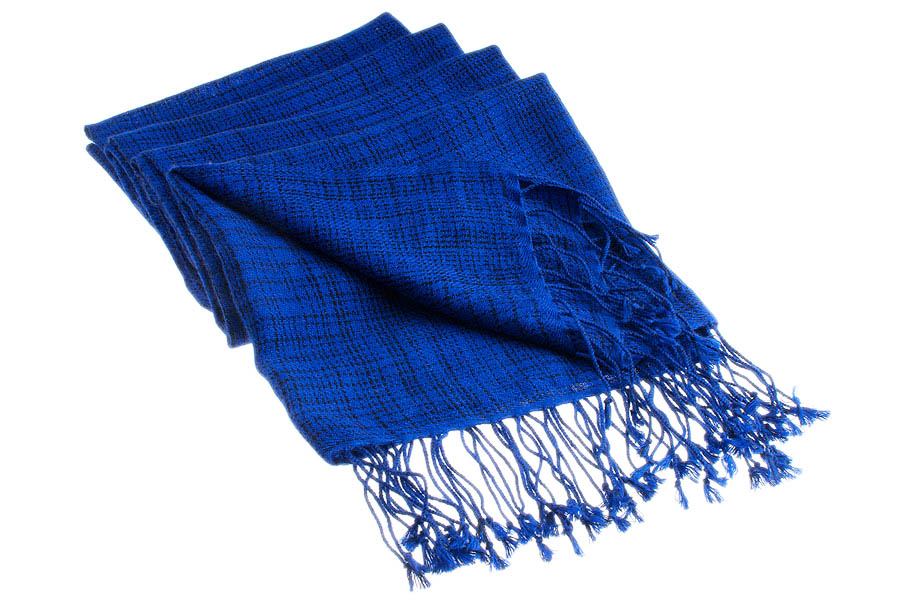 Double Ikat Stole - 66x203cm - 100% Cashmere - Tassels - Dark Navy mp120  Clematis Blue mp108