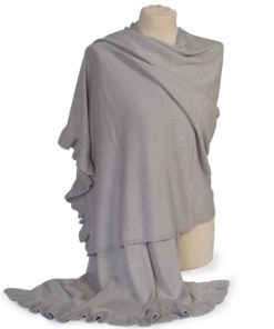 Cashmere and Silk knitted frilled edge shawl