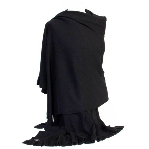 Frilled Edge Shawl - 50% Cashmere / 50% Silk - 70x200cm - Black mp09