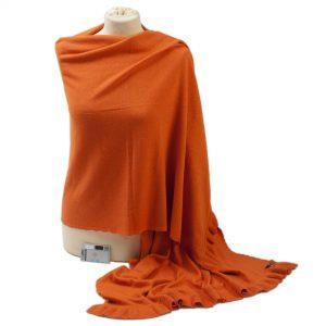 Frilled Edge Shawl - 50% Cashmere / 50% Silk - 70x200cm - Harvest Pumpkin
