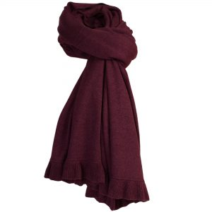 Frilled Edge Shawl - 50% Cashmere / 50% Silk - 70x200cm - Fig mp51