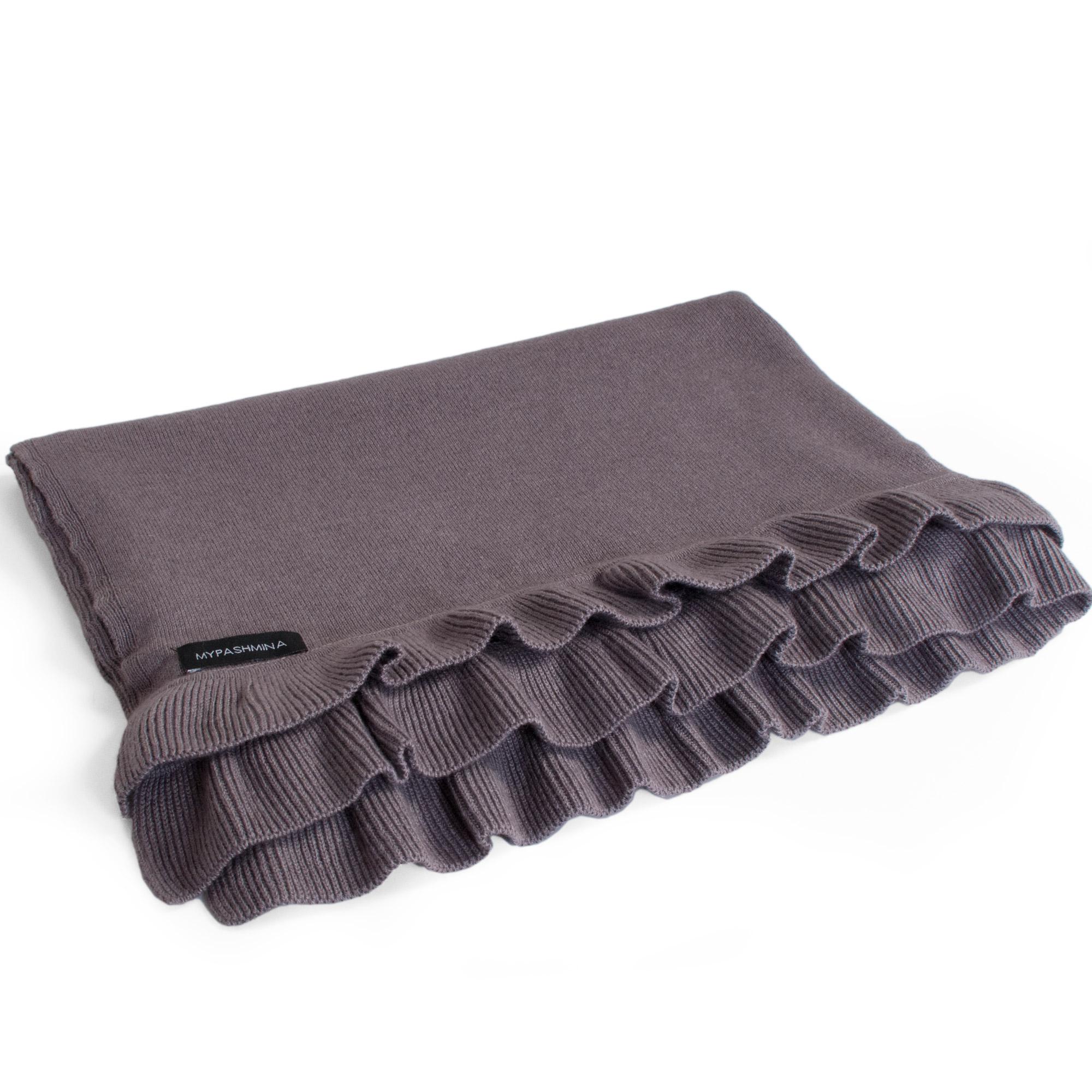 Frilled Edge Shawl - 50% Cashmere / 50% Silk - 70x200cm - Rabbit mp63