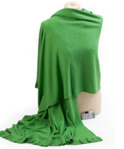 Frilled Edge Shawl - 50% Cashmere / 50% Silk - 70x200cm - Online Lime