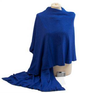 Frilled Edge Shawl - 50% Cashmere / 50% Silk - 70x200cm - Clematis Blue