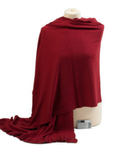 Frilled Edge Shawl - 50% Cashmere / 50% Silk - 70x200cm - Rio Red