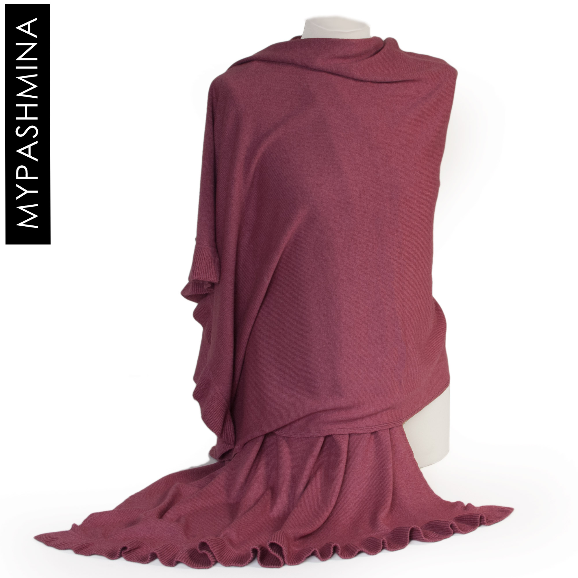 Frilled Edge Shawl - 50% Cashmere / 50% Silk - 70x200cm - Dry Rose mp127