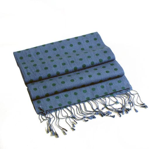 Small Spotted Scarf - 70% Cashmere / 30% Silk - 30x150cm - Insignia Blue