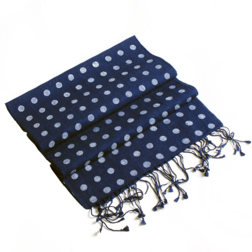 Small Spotted Scarf - 70% Cashmere / 30% Silk - 30x150cm - Navy Blue