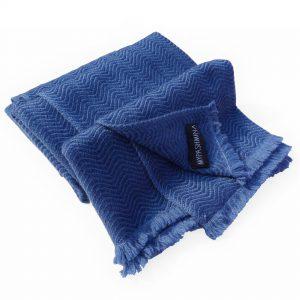 Heavy Waves Stole- Blue - 66x203cm - 100% Cashmere