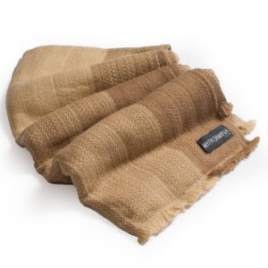 Cashmere Rough Weave Stole - 100% Cashmere - Beige/Camel/Gold - 70x200cm