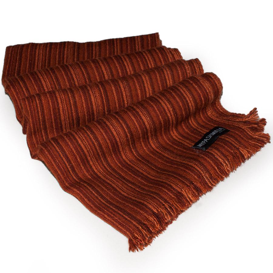 Heavy Striped Scarf - 46x216cm - 100% Cashmere - Rust/Orange