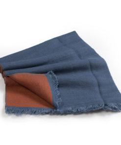 Reversible Scarf - 30x156cm - Blue/Rust- 100% Cashmere