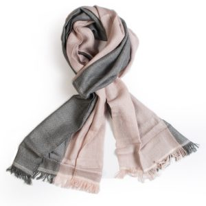 Double Texture Two Tone Scarf - 30x158cm - 100% Cashmere - Blush/Grey