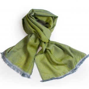 Contrast Weave Fine Scarf - 34x162cm - Greens - 100% Cashmere