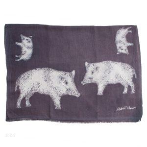 Printed Stole - 100% Cashmere - Herringbone Weave - Pig Print - 70x200cm