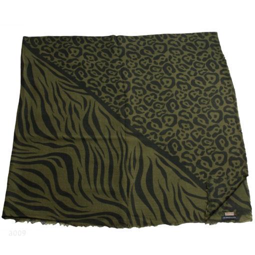 Printed Stole - 100% Cashmere - Herringbone Weave - Leo Vs Zebra - 130x130cm