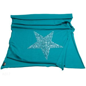 Knitted Stole With Sequin Star - 100% Cashmere - 70x200cm