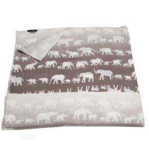 Printed Stole - 100% Cashmere - Diamond Weave - Elephants - 70x200cm