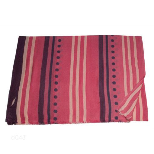 Printed Stole - 100% Cashmere - Herringbone Weave - Line And Dot Print - 70x200cm