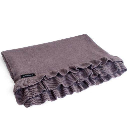 Frilled Edge Shawl - 50% Cashmere / 50% Silk - 70x200cm - Fig mp51