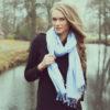 Gingham Stole- 70% Cashmere/30% Silk - 70x200cm - Aqua Sky