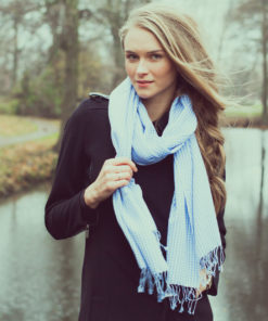 Gingham Stole- 70% Cashmere/30% Silk - 70x200cm - Insignia Blue