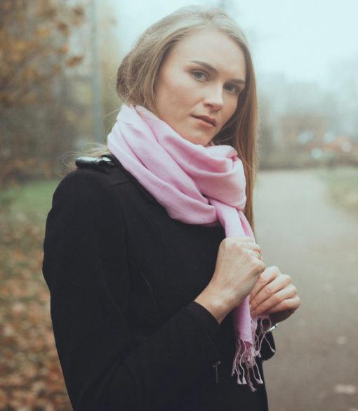 Pashmina Large Scarf - 45x200cm - 100% Cashmere - Quartz Pink