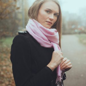 Pashmina Large Scarf - 45x200cm - 100% Cashmere - Barely Pink