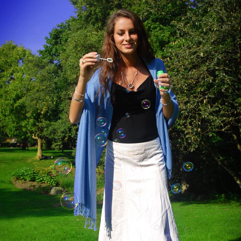 Pashmina Stole - 70x200cm - 70% Cashmere / 30% Silk - Eggshell Blue