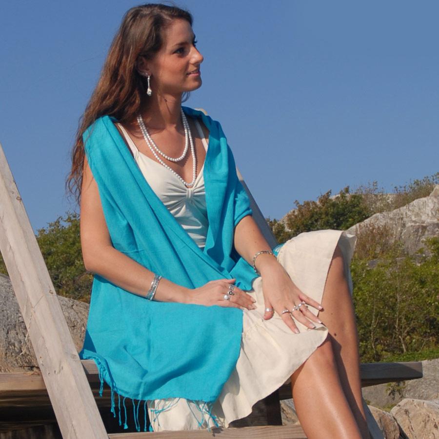 Pashmina Large Scarf - 45x200cm - 70% Cashmere/30% Silk - Aqua Sky