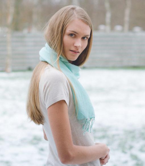 Pashmina Scarf - 30x150cm - 70% Cashmere/30% Silk - Enamel Blue