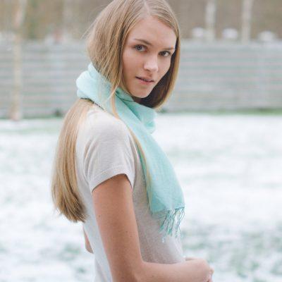 Pashmina Scarf - 30x150cm - 70% Cashmere/30% Silk - Natural White