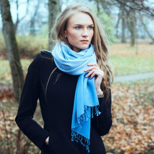 Shaded Pashmina - 45x200cm - 70%Cashmere / 30%Silk - Peppercorn Natural mp43 and Mp44