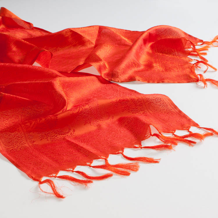 Varanasi Silk Scarf - 24x180cm - Jacquard - Orange