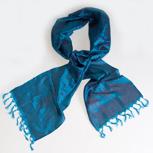Varanasi Silk Scarf - 24x180cm - Jacquard - Turquoise / Burgundy