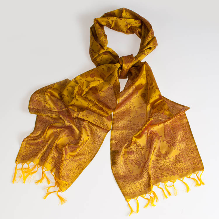 Varanasi Silk Scarf - 24x180cm - Jacquard - Golden Yellow / Brown