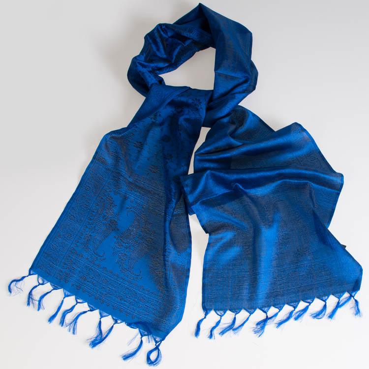 Varanasi Silk Scarf - 24x180cm - Jacquard - Blue / Black